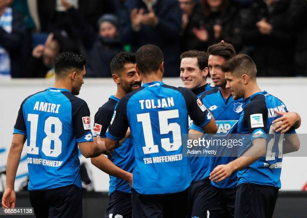 Mark Uth of 1899 Hoffenheim celebrates after scoring a goal during the Bundesliga match between TSG 1899 Hoffenheim and Borussia Moenchengladbach at...