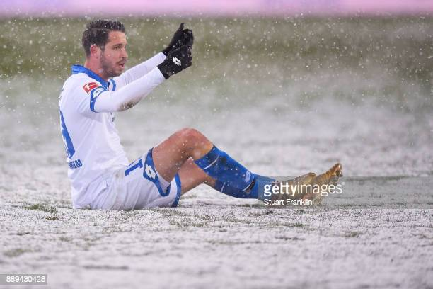 Mark Uth of 1899 Hoffenheim reacts during the Bundesliga match between Hannover 96 and TSG 1899 Hoffenheim at HDIArena on December 10 2017 in Hanover...