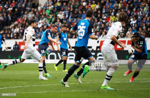 Mark Uth of 1899 Hoffenheim scores a goal during the Bundesliga match between TSG 1899 Hoffenheim and Borussia Moenchengladbach at Wirsol...
