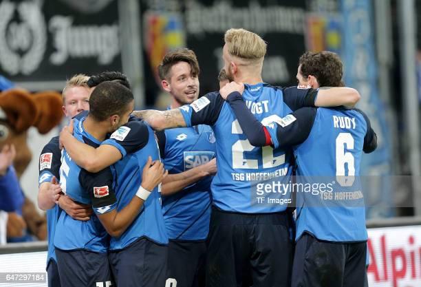 Mark Uth of Hoffenheim celebrate a goal during the Bundesliga match between TSG 1899 Hoffenheim and 1 FC Koeln at Wirsol RheinNeckarArena on December...