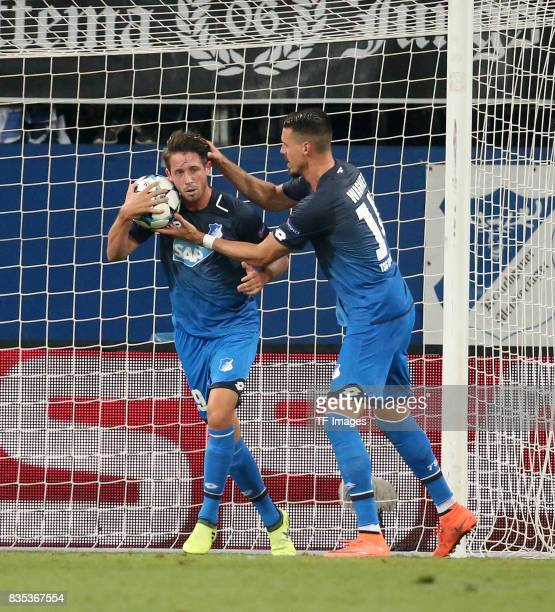 Mark Uth of Hoffenheim celebrates after scoring his team`s first goal during the UEFA Champions League Qualifying PlayOffs Round First Leg match...