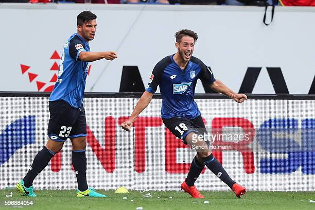 Mark Uth of Hoffenheim celebrates his team's second goal during the Bundesliga match between TSG 1899 Hoffenheim and RB Leipzig at Wirsol...