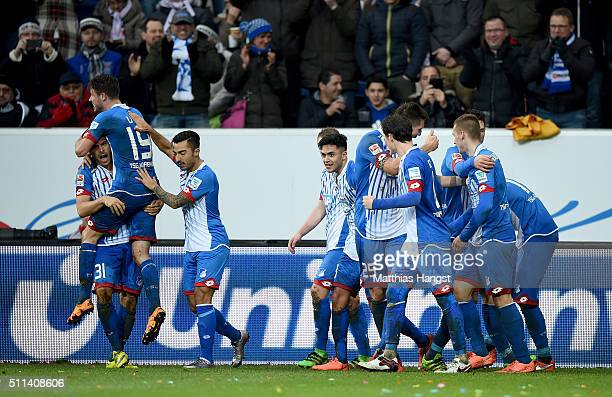 Mark Uth of Hoffenheim celebrates with his teammates after scoring his team's second goal during the Bundesliga match between 1899 Hoffenheim and 1...