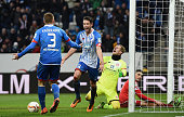Mark Uth of Hoffenheim celebrates with his teammates after scoring his team's third goal during the Bundesliga match between 1899 Hoffenheim and 1...