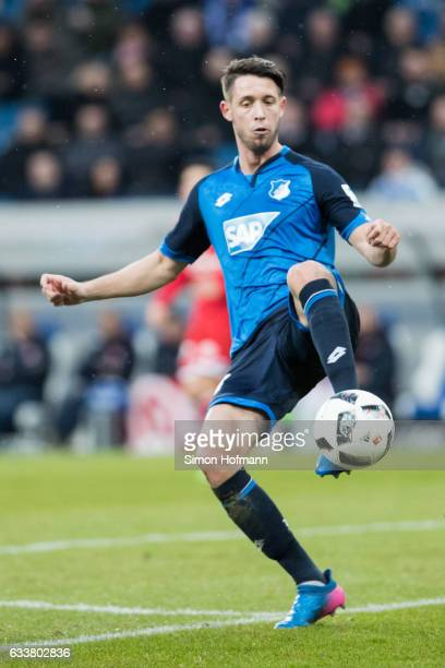 Mark Uth of Hoffenheim controls the ball during the Bundesliga match between TSG 1899 Hoffenheim and 1 FSV Mainz 05 at Wirsol RheinNeckarArena on...