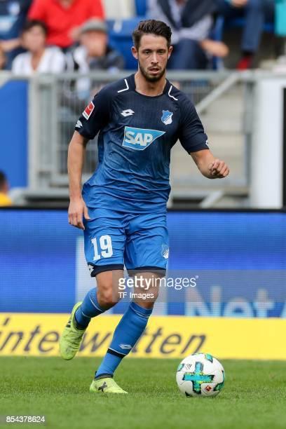 Mark Uth of Hoffenheim controls the ball during the Bundesliga match between TSG 1899 Hoffenheim and FC Schalke 04 at Wirsol RheinNeckarArena on...