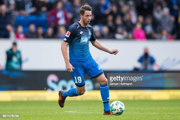 Mark Uth of Hoffenheim controls the ball during the Bundesliga match between TSG 1899 Hoffenheim and Borussia Moenchengladbach at Wirsol...