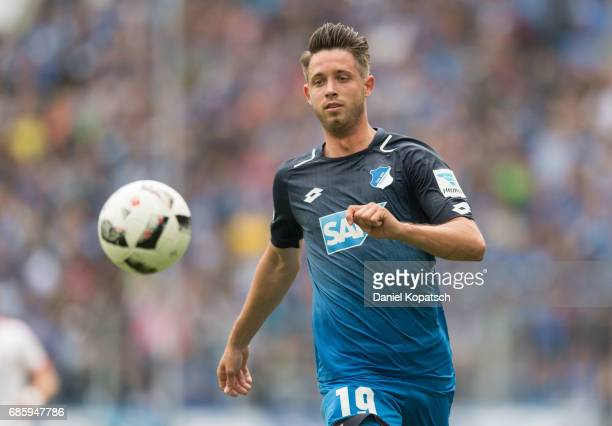 Mark Uth of Hoffenheim runs for the ball during the Bundesliga match between TSG 1899 Hoffenheim and FC Augsburg at Wirsol RheinNeckarArena on May 20...