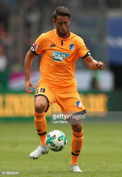 Mark Uth of Hoffenheim runs with the ball during the Telekom Cup 2017 3rd place match between Borussia Moenchengladbach and TSG Hoffenheim at...