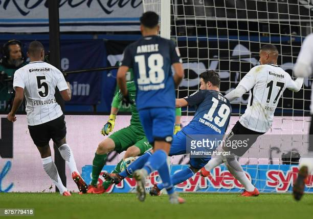 Mark Uth of Hoffenheim scores his team's first goal during the Bundesliga match between TSG 1899 Hoffenheim and Eintracht Frankfurt at Wirsol...