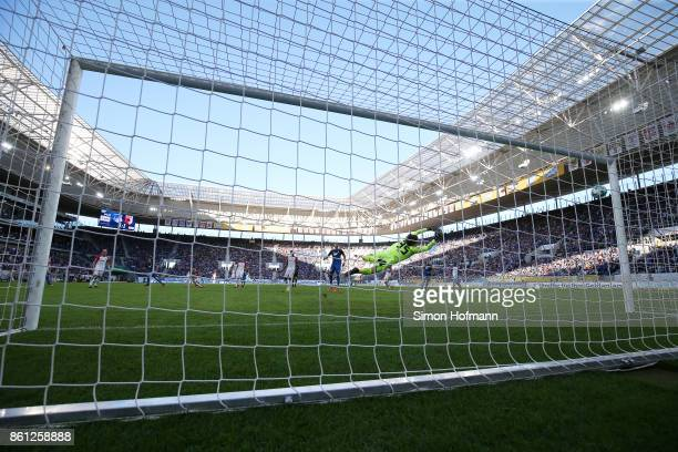Mark Uth of Hoffenheim scores his teams second goal to make it 21 during the Bundesliga match between TSG 1899 Hoffenheim and FC Augsburg at Wirsol...