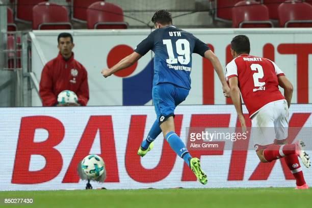 Mark Uth of Hoffenheim scores his team's third goal during the Bundesliga match between 1 FSV Mainz 05 and TSG 1899 Hoffenheim at Opel Arena on...