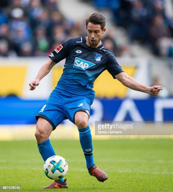 Mark Uth of Hoffenheim tries to score during the Bundesliga match between TSG 1899 Hoffenheim and Borussia Moenchengladbach at Wirsol...