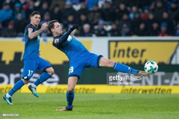 Mark Uth of Hoffenheim tries to score during the Bundesliga match between TSG 1899 Hoffenheim and RB Leipzig at Wirsol RheinNeckarArena on December 2...