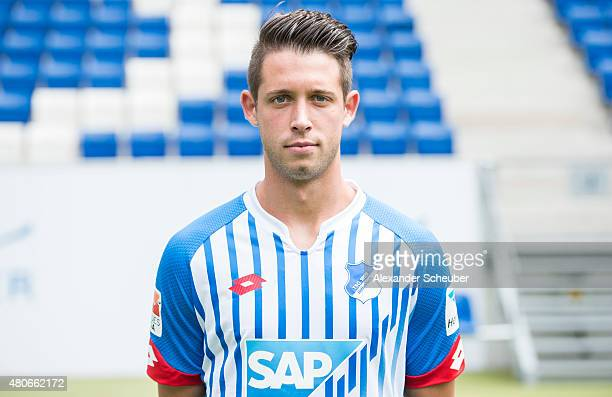 Mark Uth poses during the team presentation of 1899 Hoffenheim at Wirsol RheinNeckarArena on July 14 2015 in Sinsheim Germany