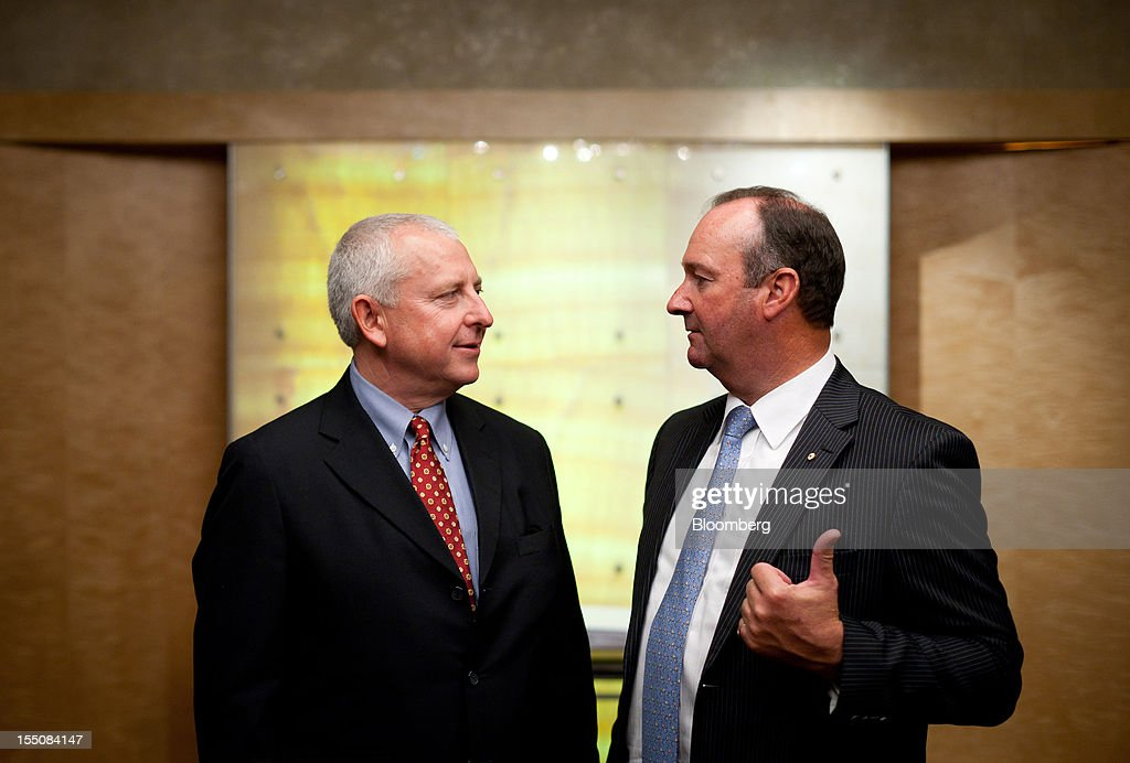 Mark Vaile, chairman of Whitehaven Coal Ltd., right, gestures as he speaks with Tony Haggarty, managing director, following the company's annual general meeting in Sydney, Australia, on Thursday, Nov. 1, 2012. Nathan Tinkler, the biggest shareholder of Whitehaven Coal, failed to remove the company's chairman and four directors after earlier saying he would seek their ouster because of a disappointing operational and financial performance. Photographer: Ian Waldie/Bloomberg via Getty Images