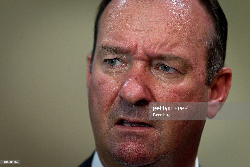 Mark Vaile, chairman of Whitehaven Coal Ltd., speaks during a news conference following the company's annual general meeting in Sydney, Australia, on Thursday, Nov. 1, 2012. Nathan Tinkler, the biggest shareholder of Whitehaven Coal, failed to remove the company's chairman and four directors after earlier saying he would seek their ouster because of a disappointing operational and financial performance. Photographer: Ian Waldie/Bloomberg via Getty Images