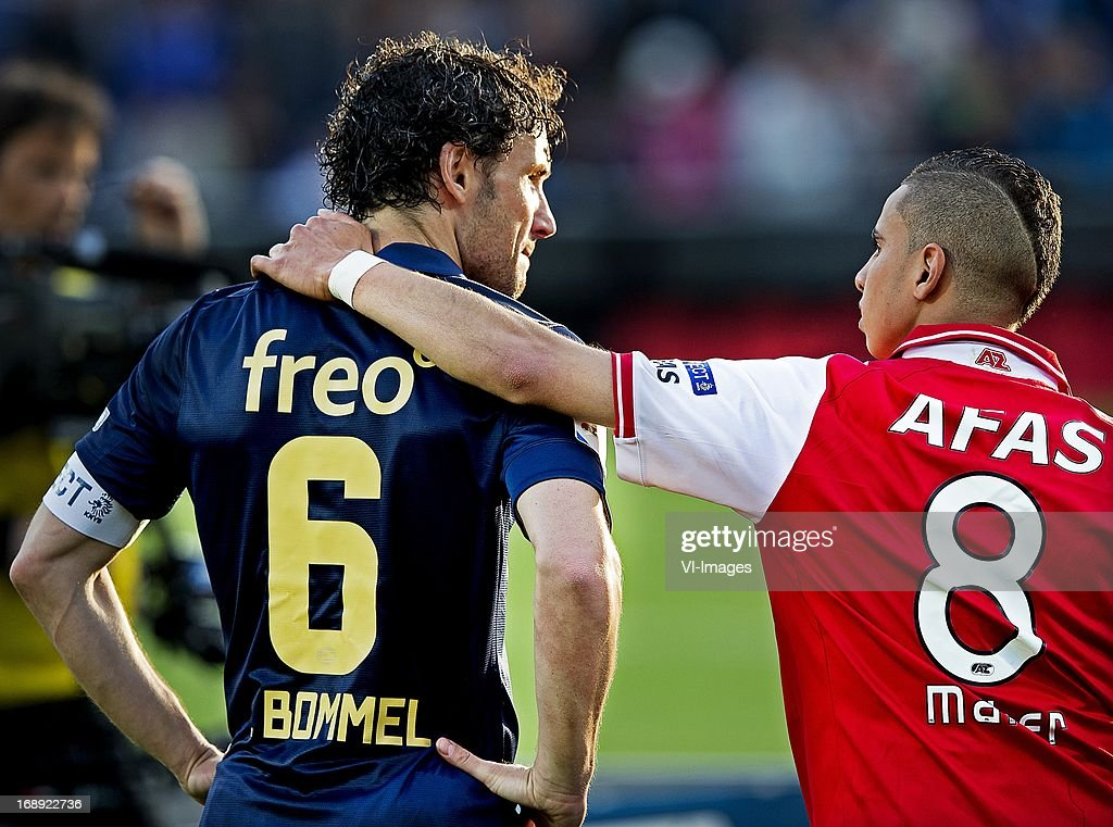 Mark van Bommel (L), Adam Maher (R) during the Dutch Cup final match between AZ Alkmaar and PSV Eindhoven on May 9, 2013 at the Kuip stadium in Rotterdam, The Netherlands.