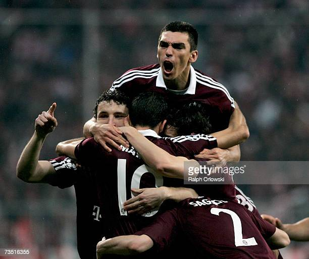 Mark van Bommel Roy Makaay Lucio and Willy Sagnol of FC Bayern Munich celebrate Makaay's goal against Real Madrid during the UEFA Champions League...