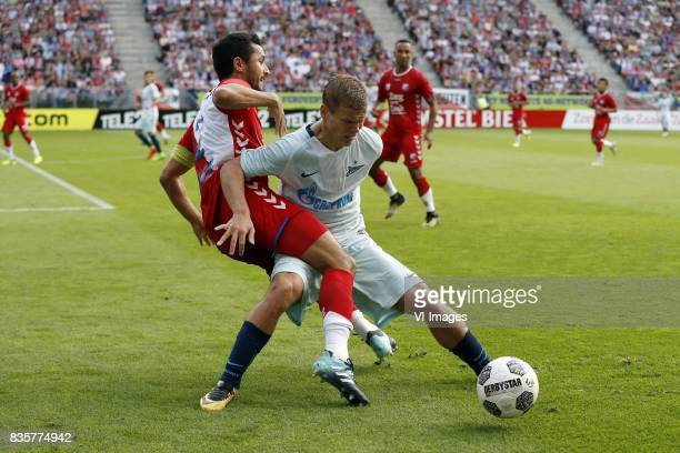 Mark van de Maarel of FC Utrecht Aleksandr Kokorin of FC Zenit during the UEFA Europa League fourth round qualifying first leg match between FC...