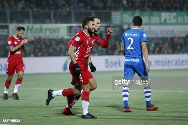 Mark van de Maarel of FC Utrecht Zakaria Labyad of FC Utrecht Sander van der Streek of FC Utrecht Bram van Polen of PEC Zwolle during the Dutch...