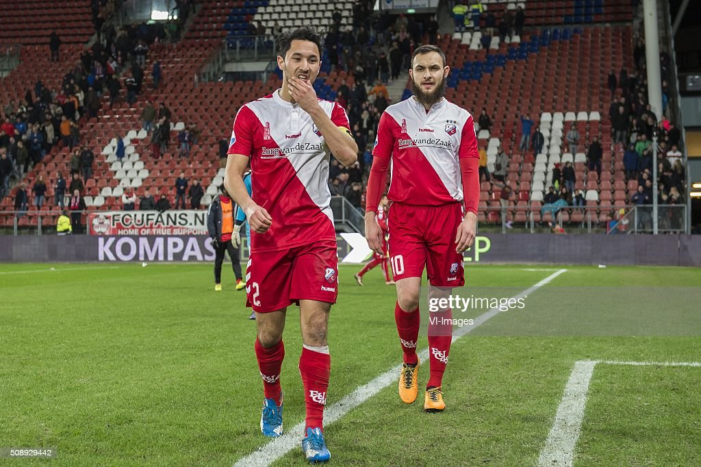 Mark van der Maarel of FC Utrecht, Nacer Barazite of FC Utrecht during the Dutch Eredivisie match between FC Utrecht and PSV Eindhoven at the Galgenwaard Stadium on February 07, 2016 in Utrecht, The Netherlands