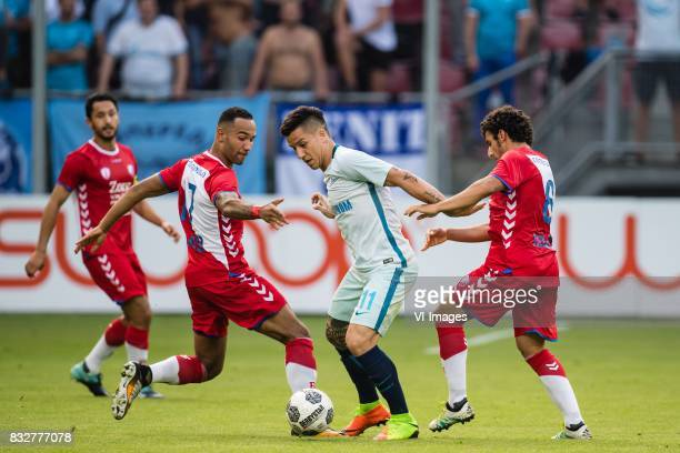 Mark van der Maarel of FC Utrecht Sean Klaiber of FC Utrecht Sebastian Driussi of FK Zenit St Petersburg Yassin Ayoub of FC Utrecht during the UEFA...