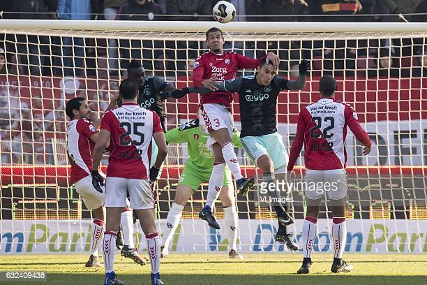 Mark van der Maarel of FC Utrecht Sofyan Amrabat of FC Utrecht Davinson Sanchez of Ajax goalkeeper David Jensen of FC Utrecht Ramon Leeuwin of FC...