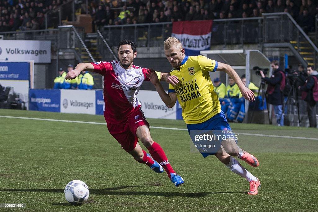 Mark van der Maarel of FC Utrecht, Vytaustas Andriuskevicius of SC Cambuur Leeuwarden during the Dutch Eredivisie match between SC Cambuur Leeuwarden and FC Utrecht at the Cambuur Stadium on February 12, 2016 in Leeuwarden, The Netherlands