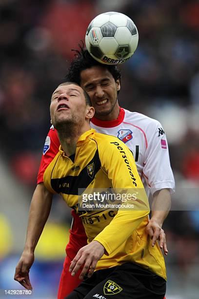 Mark van der Maarel of Utrecht and Yanic Wildschut of Venlo battle for the ball during the Eredivisie match between FC Utrecht and VVV Venlo at...