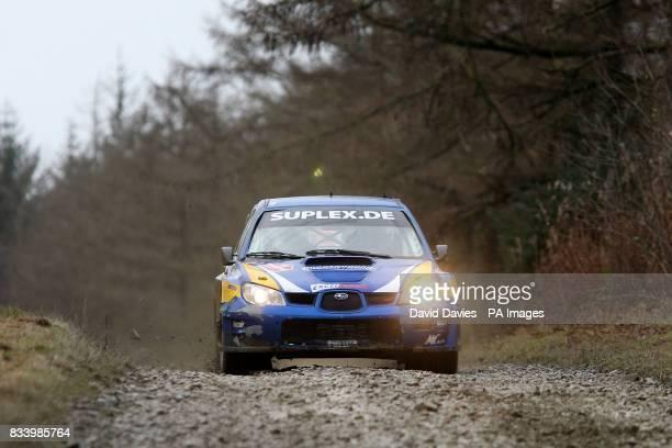 Mark Van Eldik of Holland in his independent Subaru Impreza WRC in the Wales Rally GB