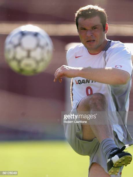 Mark Viduka of Australia in action during Australian training for the World Cup Qualifier between Australia and Uruguay on November 9 2005 in Buenos...