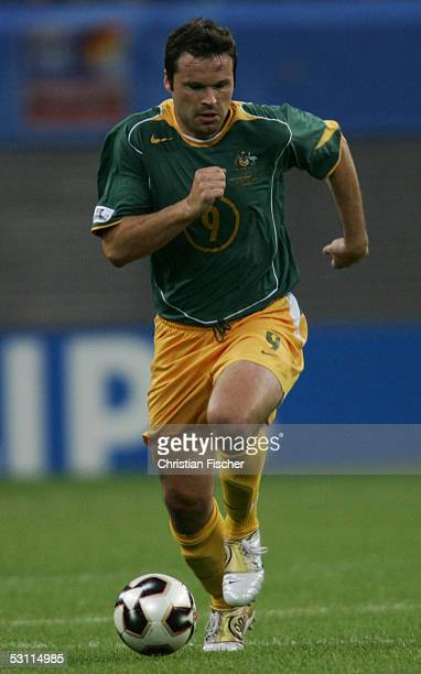 Mark Viduka of Australia in action during the match between Australia and Tunisia for the FIFA Confederations Cup 2005 at the Zentralstadium on June...