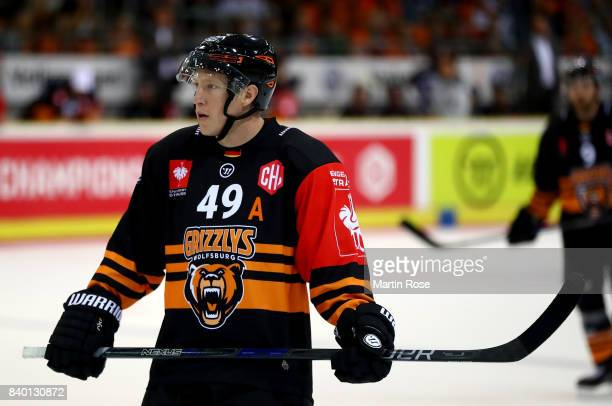 Mark Voakes of Wolfsburg skates against Banska Bystrica during the Champions Hockey League match between Grizzlys Wolfsburg and HC05 Banska Bystrica...