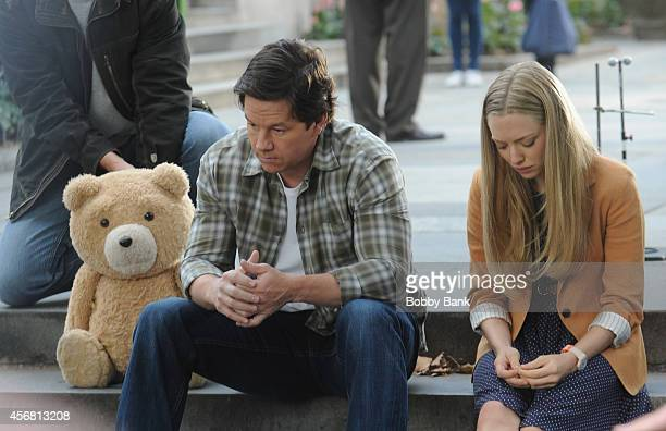 Mark Wahlberg and Amanda Seyfried with 'Ted' on the set of 'Ted2' on October 7 2014 in New York City