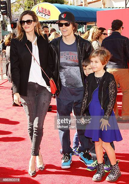 Mark Wahlberg and family arrive at the Los Angeles premiere of 'The Lego Movie' held at Regency Village Theatre on February 1 2014 in Westwood...