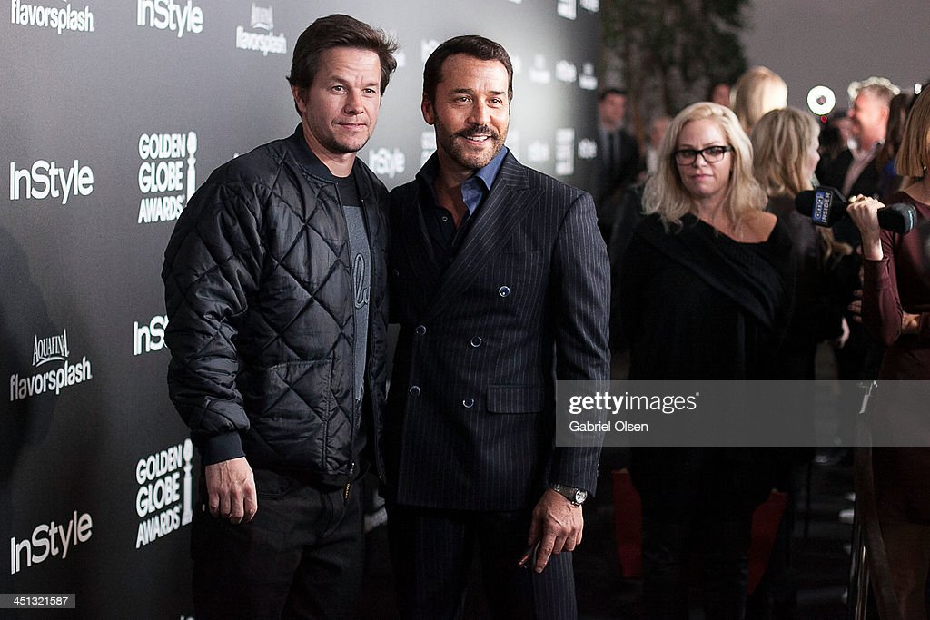 Mark Wahlberg (L) and Jeremy Piven attend The Hollywood Foreign Press Association (HFPA) And InStyle Celebrates The 2014 Golden Globe Awards Season at Fig & Olive Melrose Place on November 21, 2013 in West Hollywood, California.