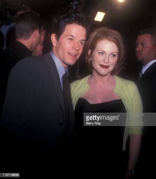 Mark Wahlberg and Julianne Moore during 'Boogie Nights' Los Angeles Premiere at Mann Chinese Theatre in Hollywood California United States