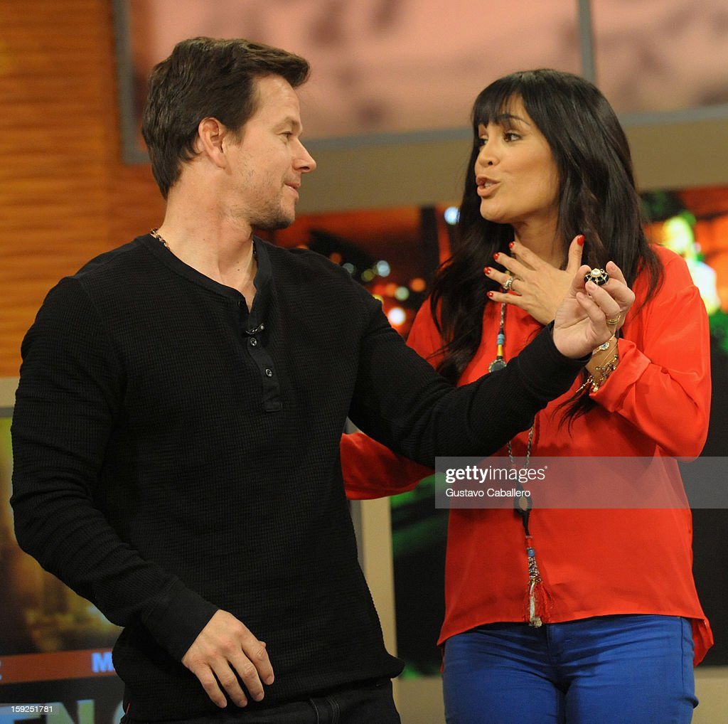 Mark Wahlberg and Karla Martínez on The Set Of Despierta America to promote new film 'Broken City' at Univision Headquarters on January 10, 2013 in Miami, Florida.