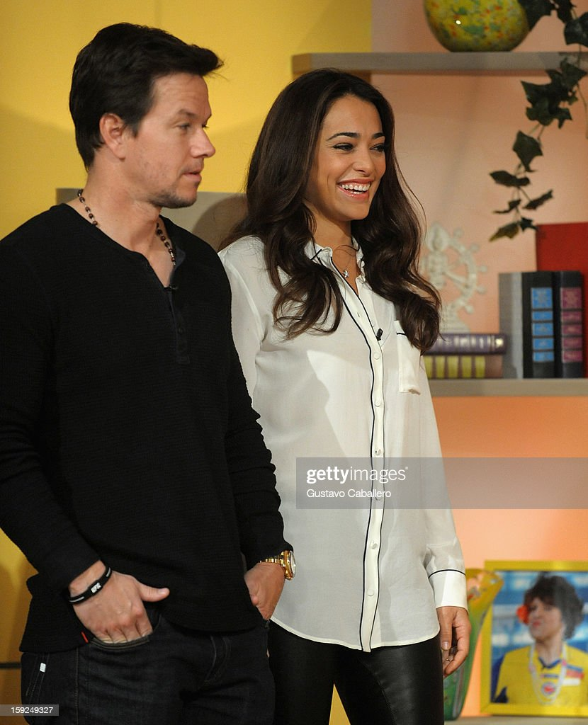 <a gi-track='captionPersonalityLinkClicked' href=/galleries/search?phrase=Mark+Wahlberg&family=editorial&specificpeople=202265 ng-click='$event.stopPropagation()'>Mark Wahlberg</a> and Natalie Martinez on The Set Of Despierta America to promote new film 'Broken City' at Univision Headquarters on January 10, 2013 in Miami, Florida.