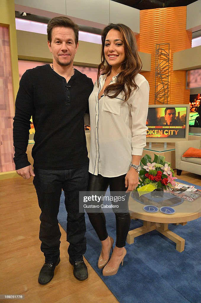 Mark Wahlberg and Natalie Martinez on The Set Of Despierta America to promote new film 'Broken City' at Univision Headquarters on January 10, 2013 in Miami, Florida.