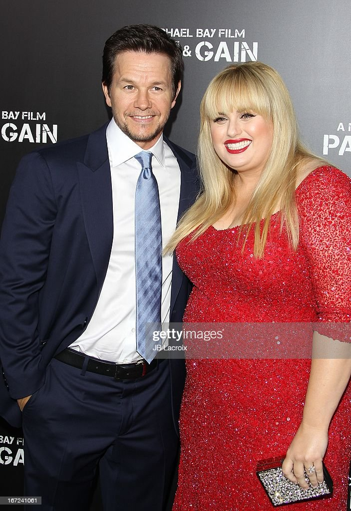 Mark Wahlberg and Rebel Wilson attend the 'Pain & Gain' premiere held at TCL Chinese Theatre on April 22, 2013 in Hollywood, California.