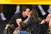 Mark Wahlberg and Rhea Durham kiss at a basketball game between the Houston Rockets and the Los Angeles Lakers at Staples Center on December 17 2015...