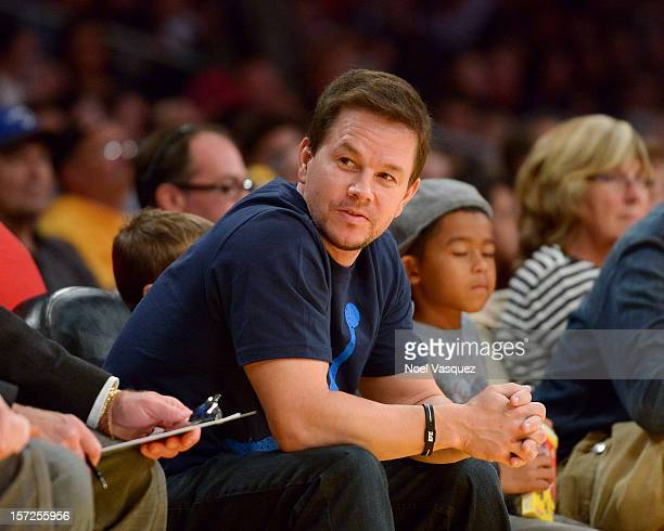 Mark Wahlberg attends a basketball game between the Denver Nuggets and the Los Angeles Lakers at Staples Center on November 30 2012 in Los Angeles...