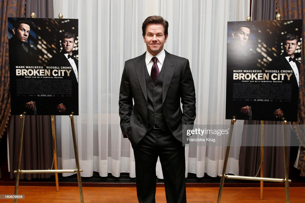 Mark Wahlberg attends a photocall for 'Broken City' at Hotel Ritz Carlton on February 4, 2013 in Berlin, Germany.