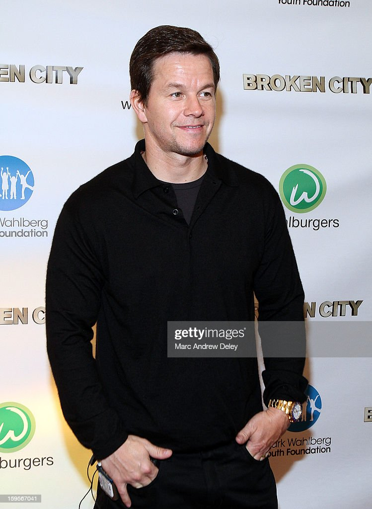 <a gi-track='captionPersonalityLinkClicked' href=/galleries/search?phrase=Mark+Wahlberg&family=editorial&specificpeople=202265 ng-click='$event.stopPropagation()'>Mark Wahlberg</a> attends screening of 'Broken City' hosted by <a gi-track='captionPersonalityLinkClicked' href=/galleries/search?phrase=Mark+Wahlberg&family=editorial&specificpeople=202265 ng-click='$event.stopPropagation()'>Mark Wahlberg</a> at Patriot Cinemas on January 15, 2013 in Hingham, Massachusetts.