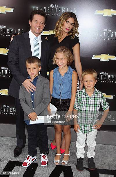 Mark Wahlberg Brendan Wahlberg Ella Rae Wahlberg Rhea Durham and Michael Wahlberg attend the 'Transformers Age Of Extinction' New York Premiere at...