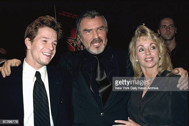 Mark Wahlberg Burt Reynolds and Pam Seals attending premiere of 'Boogie Nights' at Lincoln Center