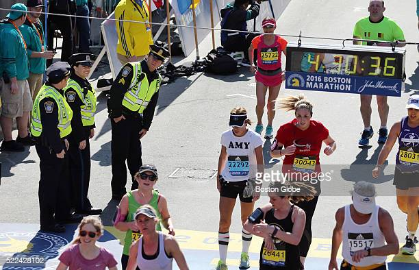 Mark Wahlberg films a scene for the movie 'Patriots Day' at the finish line of the 120th Boston Marathon on Monday April 18 2016