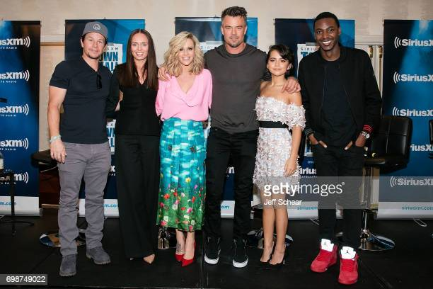 Mark Wahlberg Laura Haddock SiriusXM Host Jenny McCarthy Josh Duhamel Isabela Moner and Jerrod Carmichael attend SiriusXM's 'Town Hall' With the Cast...